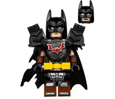LEGO (70840) Batman - Battle Ready, Tire Armor, Tattered Cape, Yellow Utility Belt, Reddish Brown Boots- The Lego Movie 2