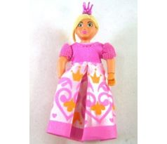 LEGO (7578) Belville Female - Girl with Bright Pink Top, Magenta Shoes and Long Light Yellow Hair, Dress, Crown