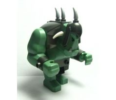 LEGO (7048) Big Figure - Fantasy Era - Troll, Sand Green with Pearl Dark Gray Armor, 2 White Horns and 3 Pearl Light Gray Horns