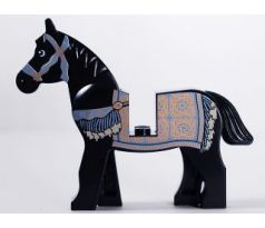 LEGO (7569) Horse, Prince of Persia with Black and White Eyes, White Pupils and Sand Blue and Gold Bridle and Persian Blanket Pattern (Aksh)