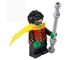 LEGO (76159) Robin - Green Mask and Hands, Black Medium Legs, Yellow Scalloped Cape - Jacket Open, Corset - Super Heroes: Batman II