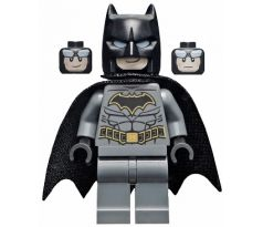 LEGO (76159) Batman - Dark Bluish Gray Suit with Gold Outline Belt and Crest, Mask and Cape (Type 3 Cowl, Spongy Cape)- Jacket Open, Corset - Super Heroes: Batman II