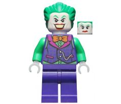 LEGO (76159) The Joker - Orange Bow Tie, Green Arms - Dark Bluish Gray Suit with Gold Outline Belt and Crest, Mask and Cape (Type 3 Cowl, Spongy Cape)- Jacket Open, Corset - Super Heroes: Batman II